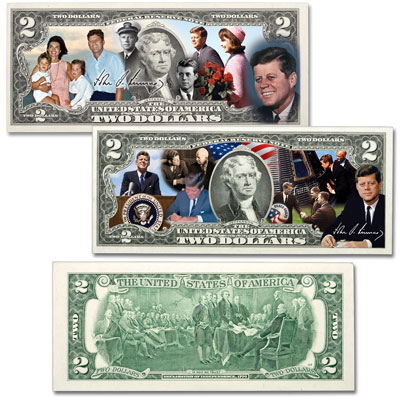 Image for Colorized John F. Kennedy $2 Federal Reserve Note Set from Littleton Coin Company
