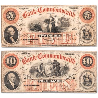 Image for 1858-1861 Bank of the Commonwealth - Richmond, Virginia Notes from Littleton Coin Company