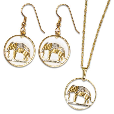 Image for Elephant Earrings & Necklace Set from Littleton Coin Company