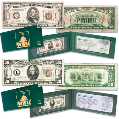 Image for Hawaii Emergency $5 and $20 Note Set in Holders from Littleton Coin Company