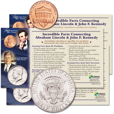 Image for 2016 Three Lincoln & Kennedy Incredible Facts Set from Littleton Coin Company