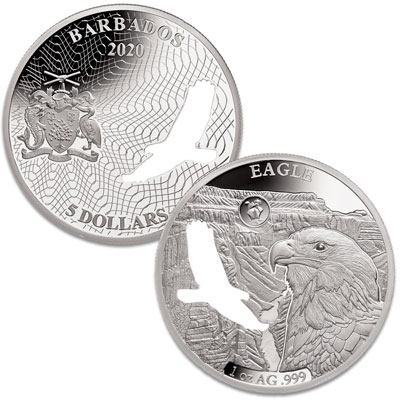 Image for 2020 Barbados Silver $5 Shapes of America - Bald Eagle from Littleton Coin Company