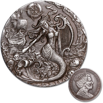 Image for 2018 British Indian Ocean Territories 2 oz. Silver £4 Mythical Creatures - The Siren from Littleton Coin Company