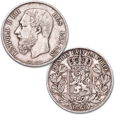 Image for 1865-1878 Belgium Silver 5 Francs from Littleton Coin Company