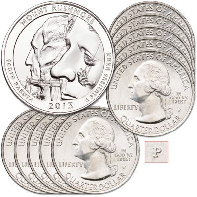 Image for 2013-P Ten Mount Rushmore National Memorial Quarters from Littleton Coin Company
