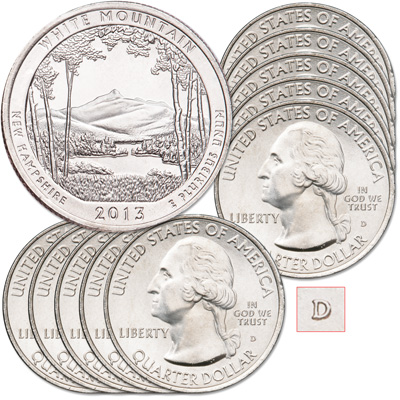 Image for 2013-D Ten White Mountain National Forest Quarters from Littleton Coin Company