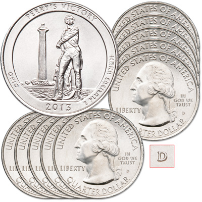 Image for 2013-D Ten Perry's Victory & International Peace Memorial Quarters from Littleton Coin Company