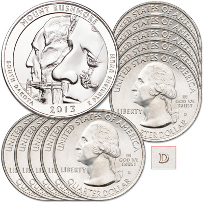 Image for 2013-D Ten Mount Rushmore National Memorial Quarters from Littleton Coin Company