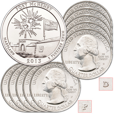 Image for 2013 5P & 5D Fort McHenry National Monument and Historic Shrine Quarter Set from Littleton Coin Company