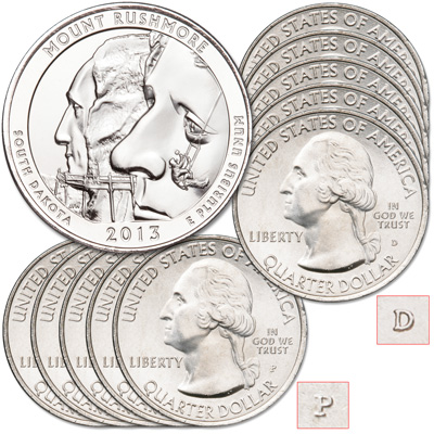 Image for 2013 5P & 5D Mount Rushmore National Memorial Quarter Set from Littleton Coin Company