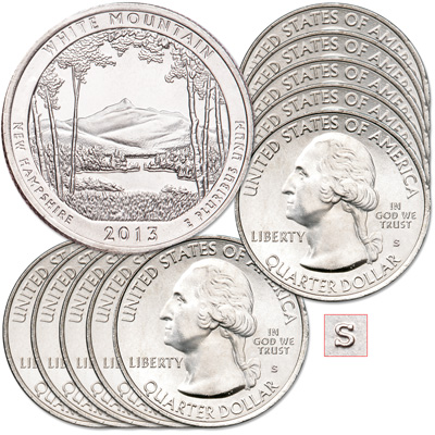 Image for 2013-S Ten Unc. White Mountain National Forest Quarters from Littleton Coin Company