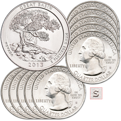 Image for 2013-S Ten Unc. Great Basin National Park Quarters from Littleton Coin Company