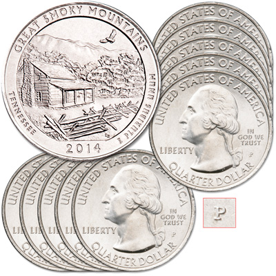 Image for 2014-P Ten Great Smoky Mountains National Park Quarters from Littleton Coin Company