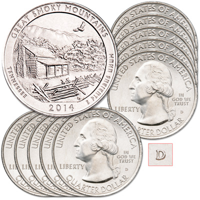 Image for 2014-D Ten Great Smoky Mountains National Park Quarters from Littleton Coin Company