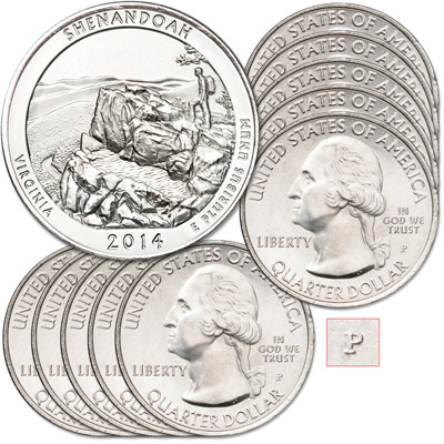 Image for 2014-P Ten Shenandoah National Park Quarters from Littleton Coin Company