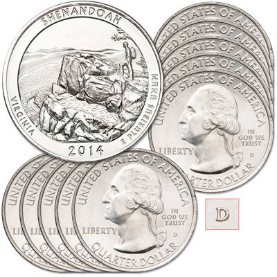 Image for 2014-D Ten Shenandoah National Park Quarters from Littleton Coin Company