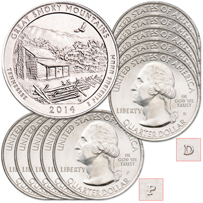 Image for 2014 5P & 5D Great Smoky Mountains National Park Quarter Set from Littleton Coin Company