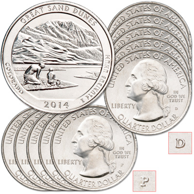 Image for 2014 5P & 5D Great Sand Dunes National Park Quarter Set from Littleton Coin Company