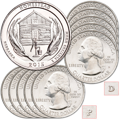 Image for 2015 5P & 5D Homestead National Monument of America Quarter Set from Littleton Coin Company