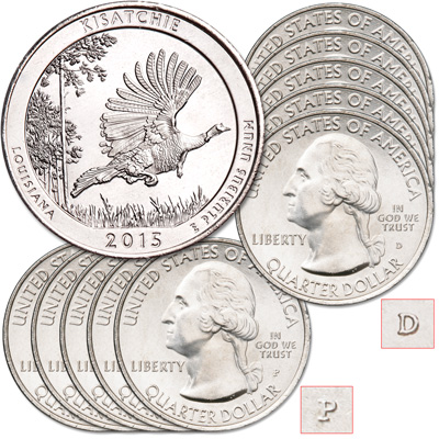 Image for 2015 5P & 5D Kisatchie National Forest Quarter Set from Littleton Coin Company