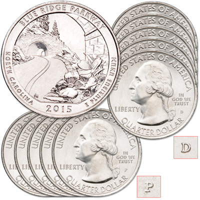 Image for 2015 5P & 5D Blue Ridge Parkway Quarter Set from Littleton Coin Company