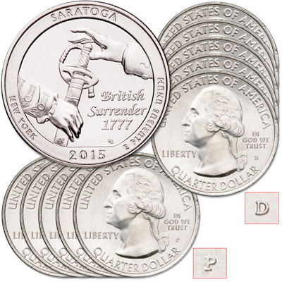 Image for 2015 5P & 5D Saratoga National Historical Park Quarter Sets from Littleton Coin Company