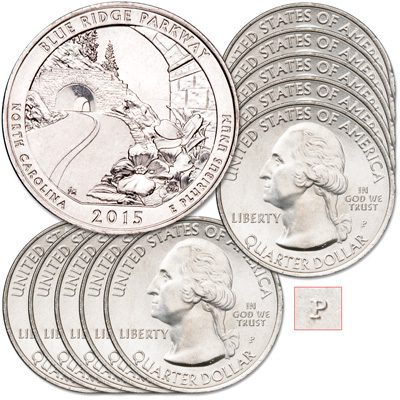 Image for 2015-P Ten Blue Ridge Parkway Quarters from Littleton Coin Company