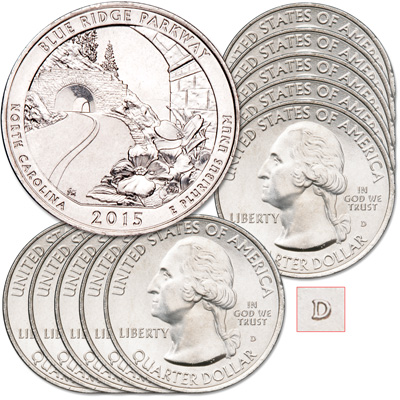 Image for 2015-D Ten Blue Ridge Parkway Quarters from Littleton Coin Company