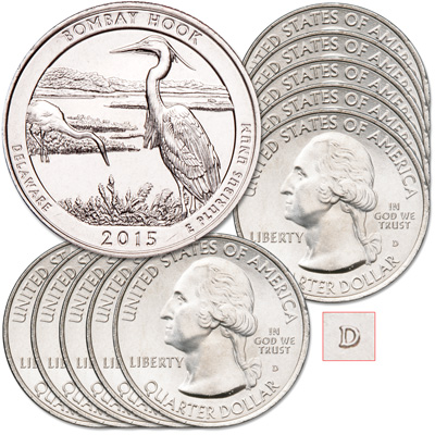 Image for 2015-D Ten Bombay Hook National Wildlife Refuge Quarters from Littleton Coin Company