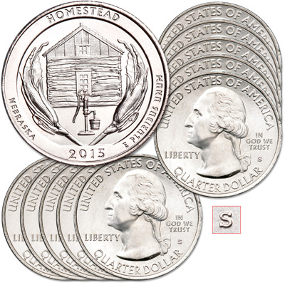 Image for 2015-S Ten Unc. Homestead National Monument of America Quarters from Littleton Coin Company