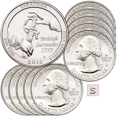Image for 2015-S Ten Unc. Saratoga National Historical Park Quarters from Littleton Coin Company