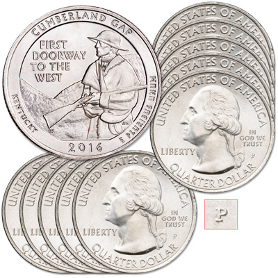 Image for 2016-P Ten Cumberland Gap National Historical Park Quarters from Littleton Coin Company