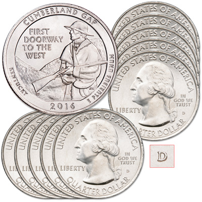 Image for 2016-D Ten Cumberland Gap National Historical Park Quarters from Littleton Coin Company
