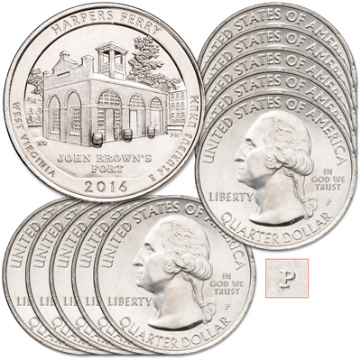 Image for 2016-P Ten Harpers Ferry National Historical Park Quarter from Littleton Coin Company