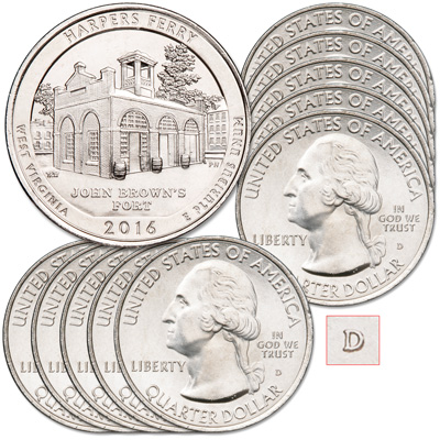 Image for 2016-D Ten Harpers Ferry National Historical Park Quarter from Littleton Coin Company