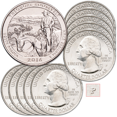 Image for 2016-P Ten Theodore Roosevelt National Park Quarters from Littleton Coin Company