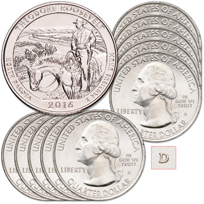 Image for 2016-D Ten Theodore Roosevelt National Park Quarters from Littleton Coin Company