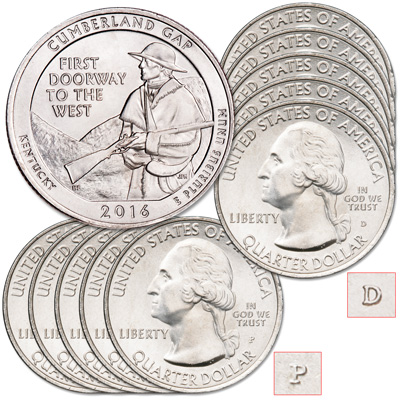 Image for 2016 5P & 5D Cumberland Gap National Historical Park Quarter Set from Littleton Coin Company