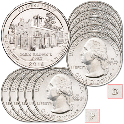 Image for 2016 5P & 5D Harpers Ferry National Historical Park Quarter Set from Littleton Coin Company