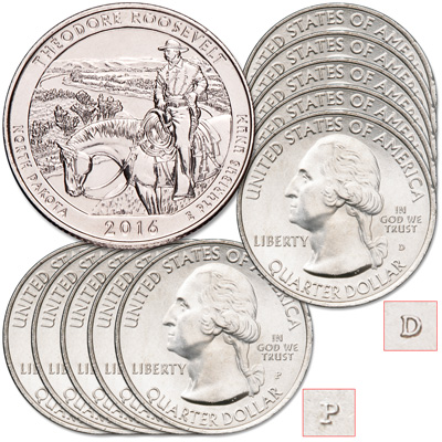 Image for 2016 5P & 5D Theodore Roosevelt National Park Quarter Set from Littleton Coin Company