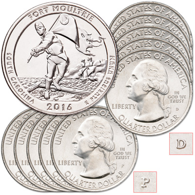 Image for 2016 5P&5D Fort Moultrie (Fort Sumter National Monument) Quarter from Littleton Coin Company