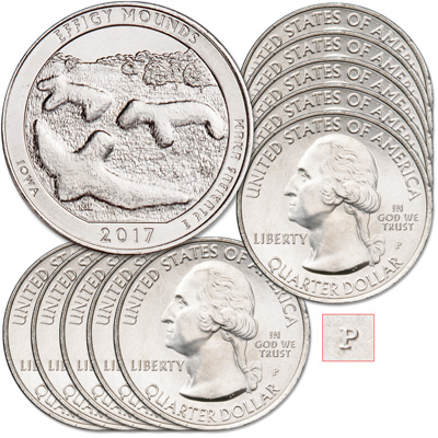 Image for 2017-P Ten Effigy Mounds National Monument Quarters from Littleton Coin Company