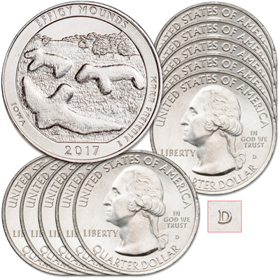 Image for 2017-D Ten Effigy Mounds National Monument Quarters from Littleton Coin Company