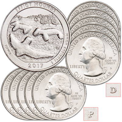Image for 2017 5P & 5D Effigy Mounds National Monument Quarter Set from Littleton Coin Company
