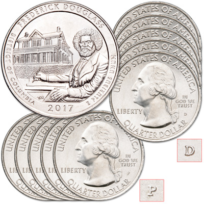 Image for 2017 5P & 5D Frederick Douglass National Historic Site Quarter Set from Littleton Coin Company