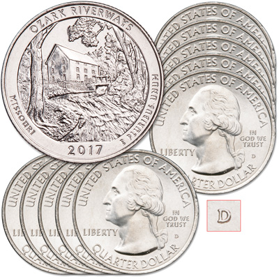 Image for 2017-D Ten Ozark National Scenic Riverways Quarters from Littleton Coin Company