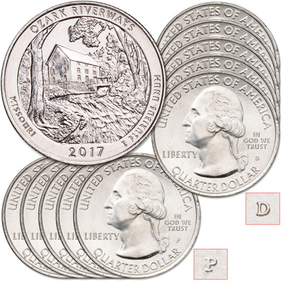 Image for 2017 5P & 5D Ozark National Scenic Riverways Quarter Set from Littleton Coin Company