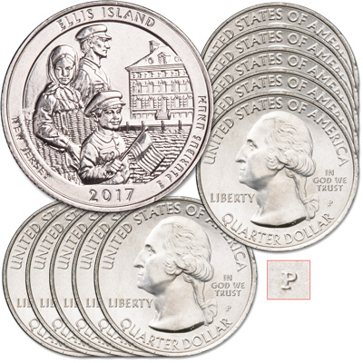 Image for 2017-P Ten Ellis Island National Monument (Statue of Liberty) Quarters from Littleton Coin Company