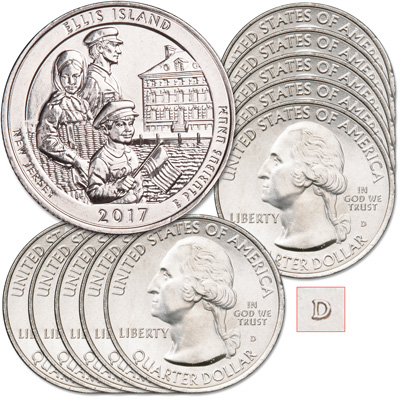 Image for 2017-D Ten Ellis Island National Monument (Statue of Liberty) Quarters from Littleton Coin Company