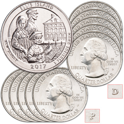 Image for 2017 5P & 5D Ellis Island National Monument (Statue of Liberty) Quarter Set from Littleton Coin Company